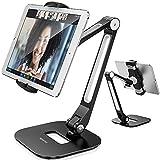 AboveTEK Supporto Tablet, Porta in Alluminio Braccio Lungo per iPad/iPhone/Samsung/Asus e Altri Dispositivi da 4 '-11', Stand Tablet Flessibile a 360°, Adatto per Letto/Cucina/Ufficio/Tavolo