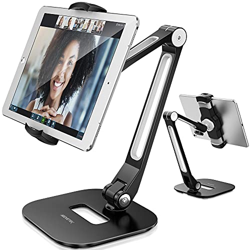 """AboveTEK Soporte para Tableta , Puerta de Aluminio de Brazo Largo para iPad/iPhone/Samsung y Otros Dispositivos de 4 """"-11"""", Soporte Flexible para Tableta de 360 °, Adecuado para Cocina/Oficina/Mesa"""