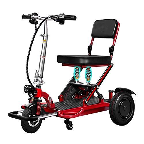 ZHAORU Silla de Ruedas eléctrica Plegable Ultraligera de 3 Ruedas, Scooter Plegable automático con Movilidad eléctrica de Litio remota, para Personas Mayores