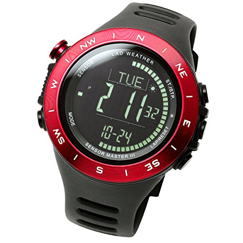 LAD-WEATHER Swiss Sensor Watch Altimeter Barometer Compass Climbing Trekking Camping Sports Outdoor Watches (Red Black)