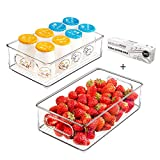 Refrigerator Organizer Bins, 2pcs Clear Plastic Stackable Fridge Containers with Handles for Freezer, Cabinet, Fridge, Kitchen Pantry Organization and Storage, BPA Free, 10' Long