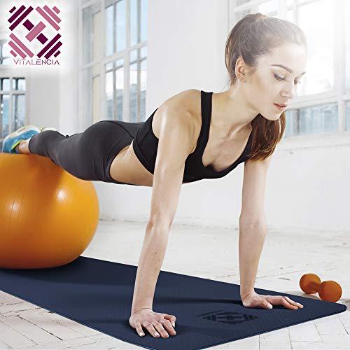 Yogamatte für Gymnastik, Fitness, Sport rutschfest - 183x61x0,6cm mit Tragegurt im Set mit Spezial-Reiniger und Mikrofaser-Tuch (blau/hellblau)