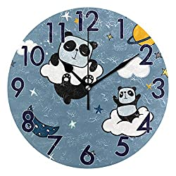 Chic Houses Panda Clock Cute Animal Bathroom Kitchen Wall Clock for Girl Boy Non Ticking Quiet Easy to Read for Bedroom Decor 8 Inch Round Clock 2031555