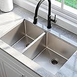 KRAUS Standart PRO 33-inch 16 Gauge Undermount 60/40 Double Bowl Stainless Steel Kitchen Sink,...