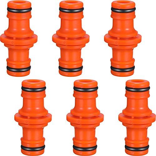 6 Packung Doppel Stecker Schlauchverbinder Extender für Gartenschlauch Rohr Verbinden (Orange)