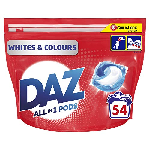 Daz ALL in 1 PODs Washing Capsules Whites & Colours 54 Washes. Cleans, Brightens & Freshens, even at 20 degrees