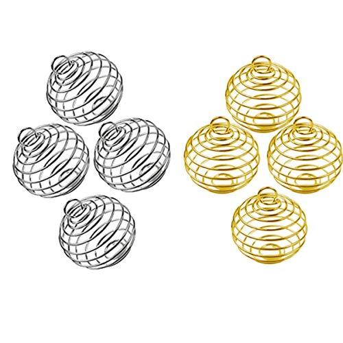 Espiral Cuentas Jaulas Colgantes, Jicyor 60Pcs Plata Plateada Redondo Espiral Cuentas Jaulas Colgantes para la Fabricación de Joyas de Bricolaje (Plata Dorado)