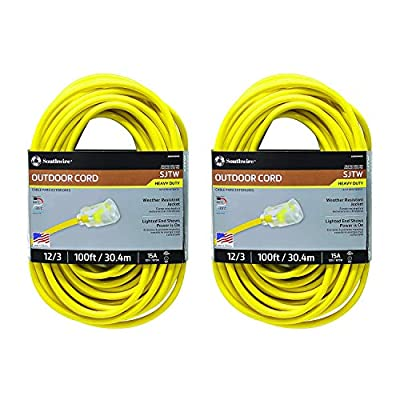 Southwire Outdoor Extension Cord- 12/3 American Made SJTW Heavy Duty 3 Prong Extension Cord- Great for Commercial Use, Gardening, and Major Appliances