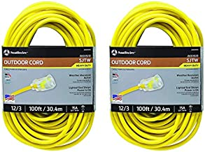 25890002 2589SW0002 Outdoor Cord-12/3 American Made SJTW Heavy Duty 3 Prong Extension Cord, Water Resistant Vinyl Jacket, for Commercial Use and Major Appliances, Foot, 100 Feet, Yellow - 2 PACK