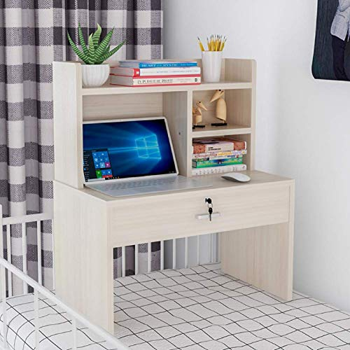 ZFM Dorm Bed Desk with Bookshelf Multifunctional Computer Table Conference Table Simple with Storage Shelves PC Table Sturdy and Durable Quick assembly-28x16x31inch L