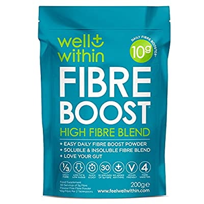 High Fibre Supplement Prebiotic Powder - 10 Gram Boost = 1/3 of Your NHS Daily Fibre (200g Bag, 30 x 5g Fiber) Well Within Gut Health 4in1 Fibre Powder Blend : Inulin Acacia Pea Psyllium Husks Powder
