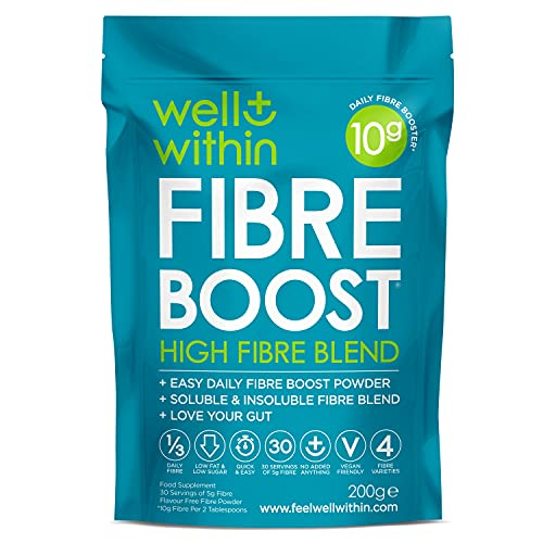 High Fibre Supplement Powder Prebiotic -10g Boost = 1/3 of Your NHS Daily Fibre (200g Bag, 30 Servings x 5g Fibre) Well Within Gut Health Prebiotic Fibre Powder Blend 4in1 Inulin Acacia Pea Psyllium