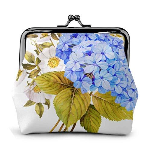 Bolsa de Monedas BGHYT Azul Flor Blanca Ramo de Novia Hebilla Monedero de Cuero Bolsa Monedero pequeño Monedero Cerradura Cambiar Monedero Carteras