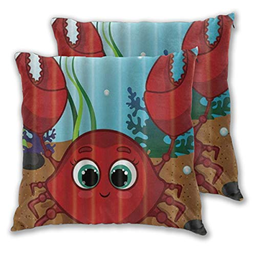 KASABULL 2 Pack Funda de Almohada Cangrejo Rojo Dulce Coral Burbuja submarina Lindo Lino Suave Cuadrado Sofá Cama Decoración Hogar para Cojín 45cm x 45cm