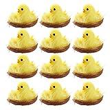 BSTQC Pollitos de Pascua, 12 unidades de mini pollitos de Pascua amarillos, decoración de Pascua, juguete de primavera, hogar, jardín, decoración de fiestas, regalos y regalos para niños