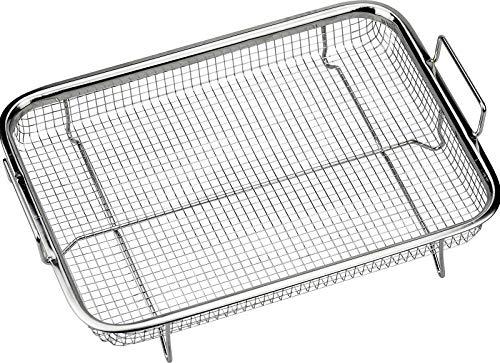 Winfred Edelstahl Grillkorb, Grillgitter BBQ Backkorb für das Backen von Keksen und Kuchen, Grillen, & AuskühlenSilber (31,8X 22,6X 8,4CM)