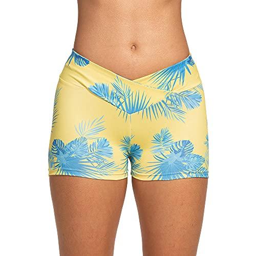 ArcherWlh Leggings,Cruz Europea y Americana Impresión de Cintura Casual Deportes Hip Slim Fitness Yoga Pantalones Cortos-Amarillo_SG