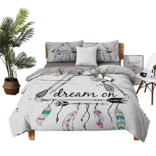 LANQIAO Duvet Cover Boho Style Tribal Arrows Triangle Shape Dream On Hand Writing Feathers for him 68x86 inch