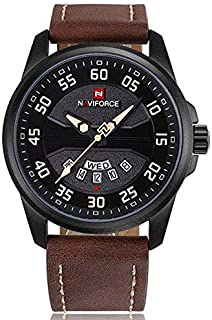 Naviforce NF9124 Men's Watch Sport Leather Strap Quartz Watch with Date and Day Display - Brown