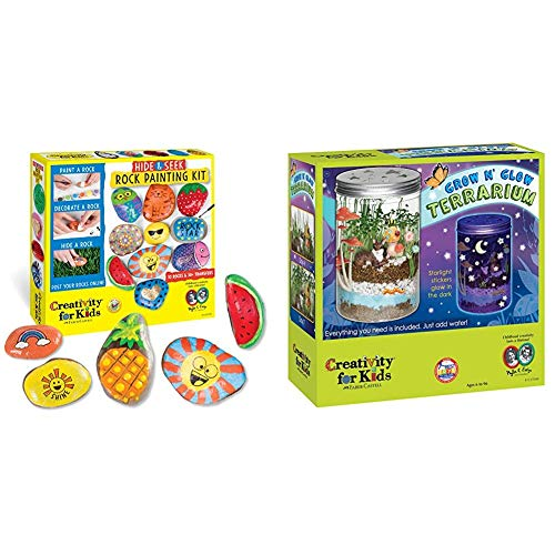 Creativity for Kids Hide & Seek Rock Painting Kit - Arts & Crafts for Kids - Includes Rocks & Waterproof Paint & Grow 'n Glow Terrarium