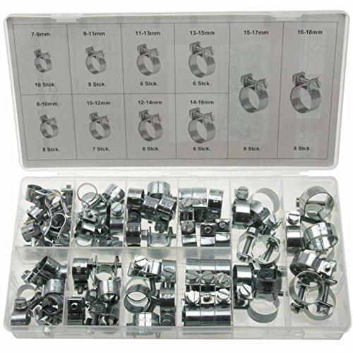 73 x Universal Mini Schlauchklemmen-Sortiment Rundziehende Schlauchschellen/KlemmschelleSatz (im Aufbewahrungsbox/Sortimentsbox)