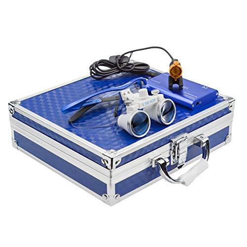 GoDen 3.5倍メガネ式拡大鏡+LEDライト 3Wランプ 双眼ルーペ 距離調整可 角度調整可 電池付き フィルター付き 収納ケース付き ポータブル型 (ブルー)