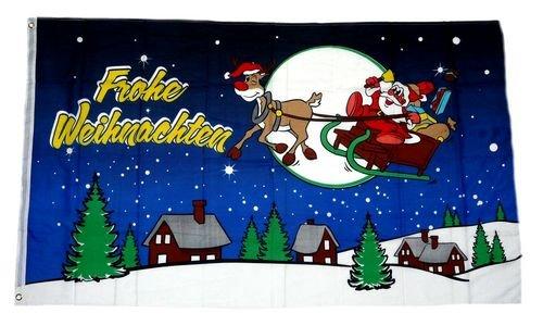 Fahne/Flagge Frohe Weihnachten Schlitten blau 90 x 150 cm