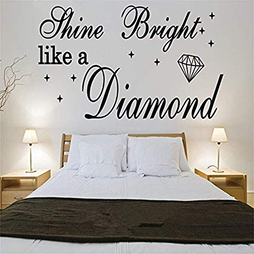 Quote Shine Bright Like A Diamond Rihanna Art Quote Song Lyrics Home Wall Decals Mural Decor Vinyl Sticker SK3604 (w35 h17)