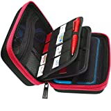 BRENDO Hard Carrying Case with Handle for New Nintendo 2DS XL + Large Stylus, Fits Wall Charger, 24 Game Cartridge Case Holder Storage, Large Accessories Pocket - Red/Black