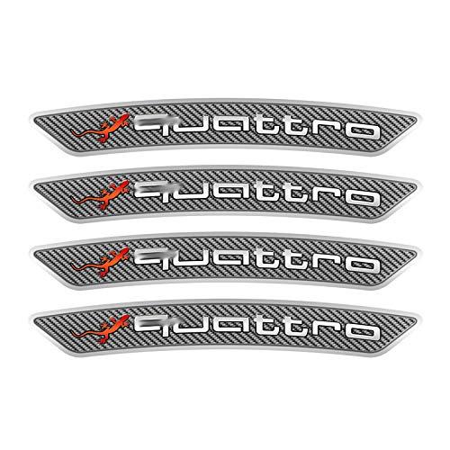HTTY 4 pegatinas para llantas de coche de fibra de carbono para Quattro A1, A3, A4, A5, A6, A7, A8, Q3, Q5, Q7, Sline, S3, RS3, S4, RS4 y RS4 (nombre del color: 4 piezas plateadas para audi)