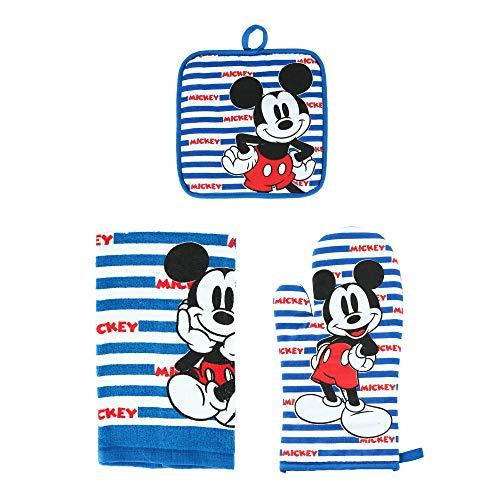 Disney Ofenhandschuh-Handtuch, 3-teiliges Set, Mickey Mouse-Streifen, USA Blau