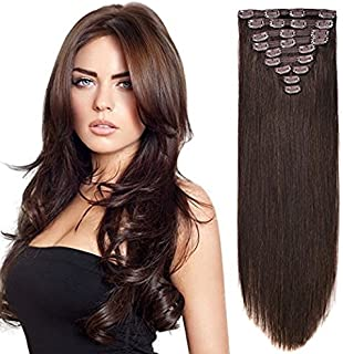 "20"" Human Hair Extensions Clip on Real Hair Clip in Extensions for Medium Hair Full Head Dark Brown #2 10pieces 160grams/5.6oz"