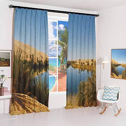 Desert Noise-proof sunshade curtain Idyllic Oasis Awbari Sand Sea Sahara Libya Pond Lush Arid Country Waterproof fabric W52 x L84 Inch Pale Blue Green Sand Brown