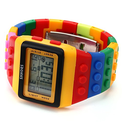 AMPM24 LCD Digital Alarm Lady Men Block Constructor Stopwatch Sport Rubber Watch LED091