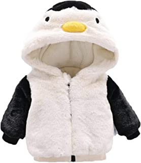 Baby Boy Girl Fleece Hoodie Thick Jacket Coat Cartoon Penguin Zip Up Warm Outerwear Clothes