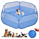 Small Animal Cage, Pet Playpen, Play Tent, Indoor/Outdoor Bedding Fence, Portable Pen for Hamster, Guinea Pig, Rabbit/Bunny, Puppy, Ferret, Rat, Cat, Chinchilla, Bearded Dragon, Hedgehog (NOCOVER-BLU)
