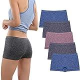 Women's Boyshort Underwear Seamless Boxer Panties Stretch Boyshort Panty Breathable No Show Boxer Briefs for Ladies 5 Pac