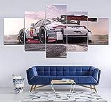YFTNIPL Impresión 5 Piezas Lienzo Porsche 911 Casa Sala Oficina Regalo Decoración Mural HD Imágenes Póster 5 Piezas Artística Cuadros 5 Piezas De Pared Fotos Cuadros En Lienzo