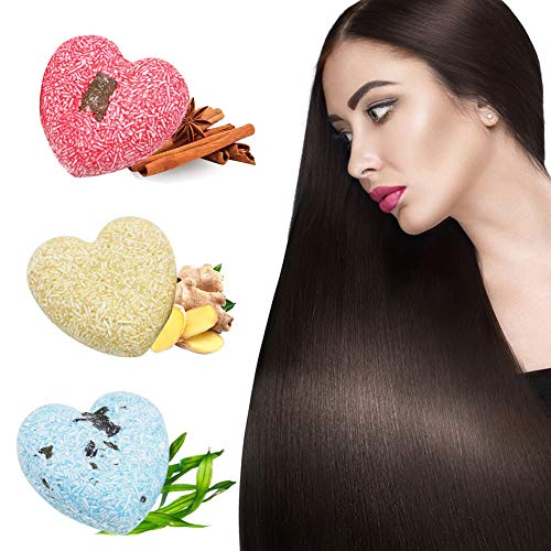 Shampoo Bar Haarseife,Natürliches Pflanzliches Haarpflege Anti-Haarausfall Anti Schuppen und Öl-Kontrolle für trockenes geschädigtes Haar,Ingwer Algen Zimt Festes Shampoo und 3 Stücke Seifenbeutels