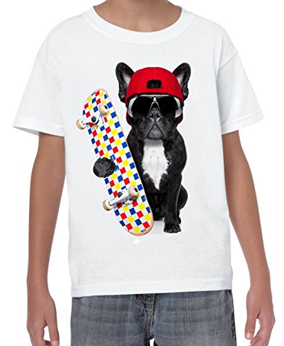 French Bulldog Skateboarder Funny Children's T-Shirt (11 to 12, White)