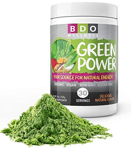Green Power SUPERFOOD Powder, Organic Mixed Greens, Wheat Grass, BIOTIN, SPIRULINA, CHLORELLA and More