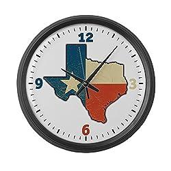 Large Wall Clock Texas Flag Texas Shaped