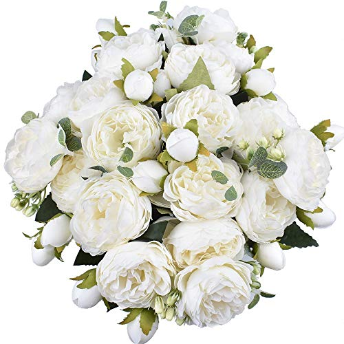 4 Packs Artificial Peony Silk Flowers Fake Glorious Flower Bouquets for Wedding Party Bridal Home Decoration, 5 Forks, 9 Head (White)