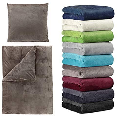 BaSaTex Winter Cashmere Touch Bettwäsche und Spannbettlaken in verschiedenen Größen und vielen Farben, 2tlg Set 135x200 cm Anthrazit Stone