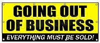 36インチ×96インチ Going Out of Business バナーサイン Closeout Save Big Huge Must Bankrupt
