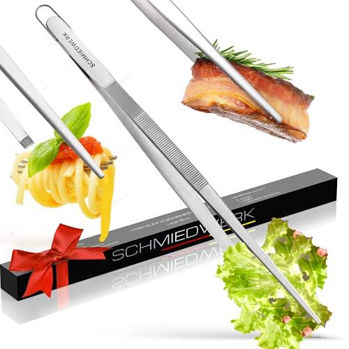 SCHMIEDWERK Kochpinzette Edelstahl 35cm - Kochen | Grillen | Backen - Küchenpinzette mit Hängeöse als Küchenhelfer