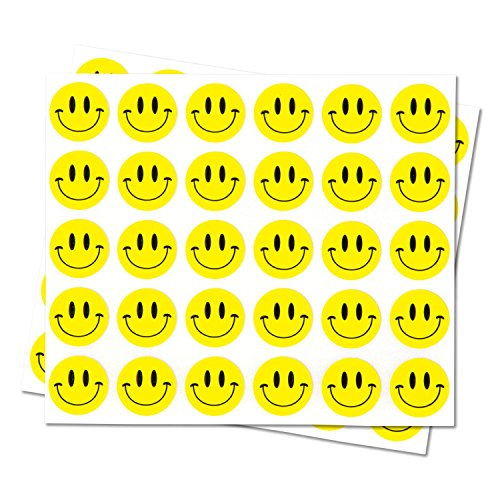 "Happy Face Smiley Face Labels Round Self Adhesive Circle Stickers (Yellow Black / .5"") - 300 Labels per Package"