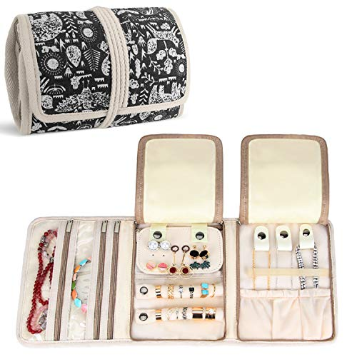 Teamoy Jewellery Roll, Travel Jewellery Organiser for Necklaces, Earrings, Bracelets, Brooches and more, Jewellery Wrap with Various Departments, Animal World