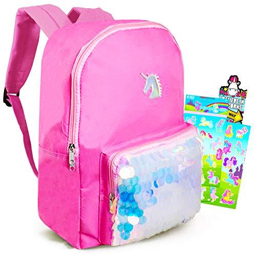"Cute Unicorn Bookbag for Girls Teens ~ Premium 16"" Sequin Unicorns Schoolbag Set with Unicorn Reward Stickers and Accessories (Cute Unicorn School Supplies)"