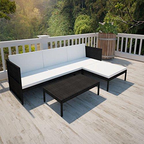 UnfadeMemory Muebles de Jardin Exterior con Cojines,1 Sofá de Tres Plazas+1 Taburete+1...